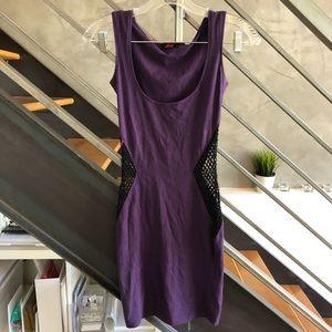 Motel purple & black cutout mesh bodycon dress XS